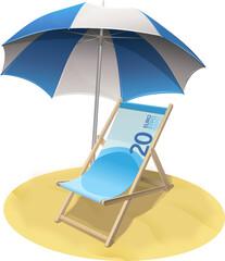Chaise longue billet de banque de 20 euros sur la plage (détouré)