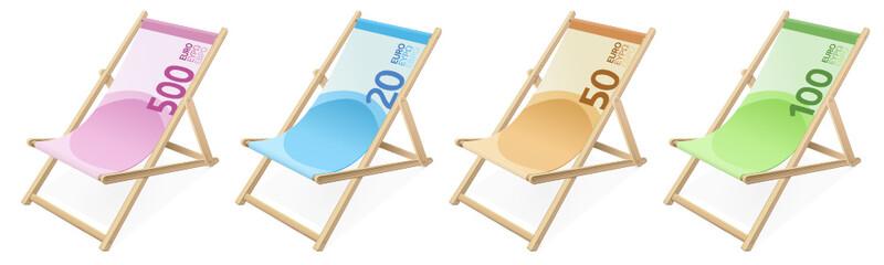 Collection de chaises longues billet de banque en euros (détouré)