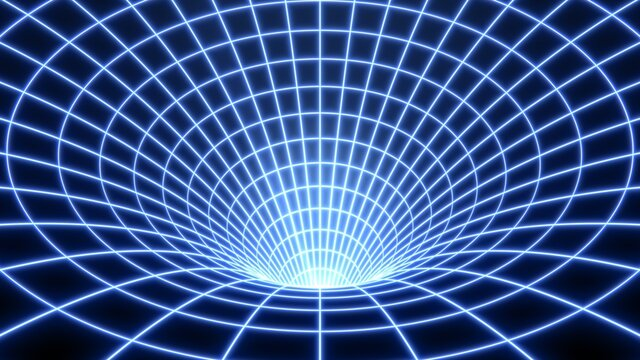 Bent Spacetime Warped Grid Wormhole Funnel Dimensional Relativity - Abstract Background Texture