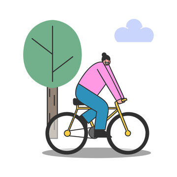 Cartoon woman riding bicycle over tree background. Profile view of female cyclist