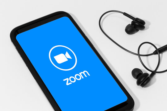 Galicia, Spain; april 25, 2020 : Smart phone showing Zoom Communications app and logo on screen
