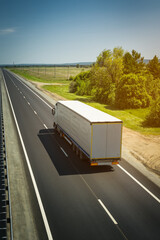 Truck on the road. Freight transportation.