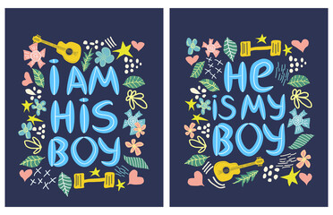 Fototapeta lgbt quote He s My boy, I m his boy paired print for lovers, concept, postcard, banner in a beautiful thematic frame of hearts, guitars, dumbbells. obraz