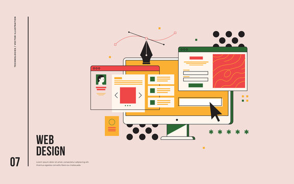 Web design concept. Interface elements and browser windows on the monitor screen. Digital industry. Innovation and technology. Vector flat illustration.