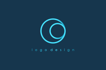 Abstract Initial Letter O Logo. Blue Circular Rounded Line Infinity Style isolated on Blue Background. Usable for Business and Technology Logos. Flat Vector Logo Design Template Element.