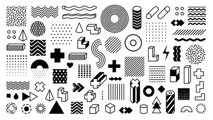 Memphis geometric shapes. Trendy graphic element. Different shape funky graphic silhouette for design. Vector isolated elements
