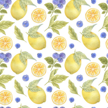 Watercolor seamless pattern with lemons, blueberries and leaves on the light background. Bright watercolor illustration.