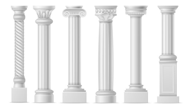Realistic column. Classic antique white columns, roman historical stone pillars, marble pillar ancient greece architecture vector set
