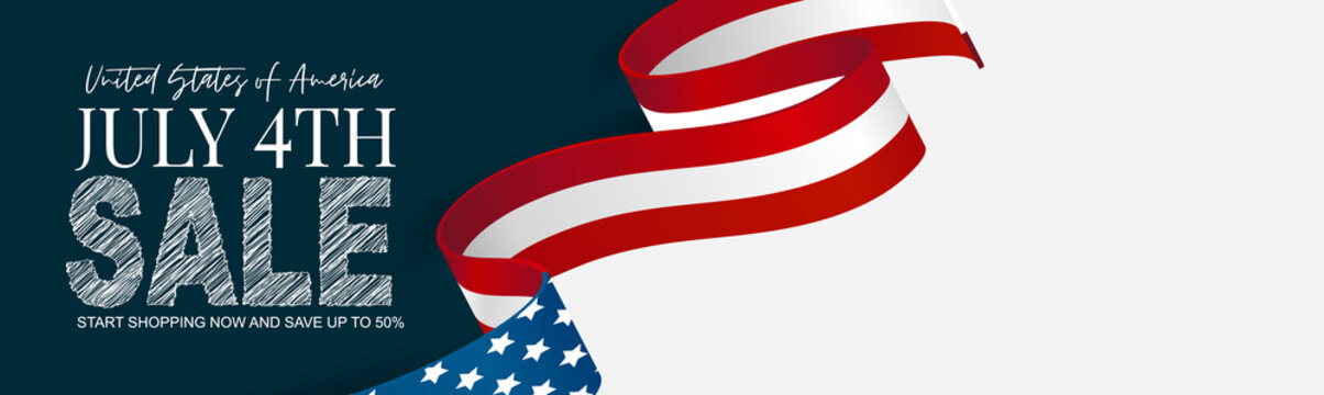 July 4th banner or header background. United States of America national flag and ribbon with stars and stripes. USA independence day celebration. Realistic vector illustration.