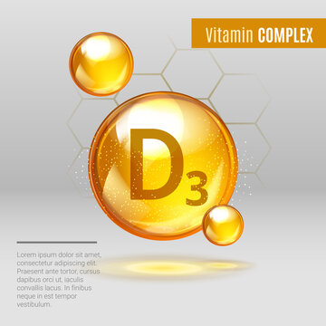 Vitamin D3 shining pill capsule icon . holecalciferol vitamin with Chemical formula. Shining golden substance drop. Meds ads. Beauty treatment nutrition skin care design. Vector illustration.