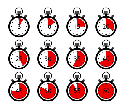 Stopwatch icons. Clock timer with stop. Set of chronometer. Countdown in sport. Symbol of start, end. Time in: 5, 10,15,20,30,45,60 second. Competition in speed. Interval meter with arrow. Vector.