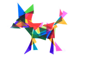 Fototapeta dog from plastic color triangles