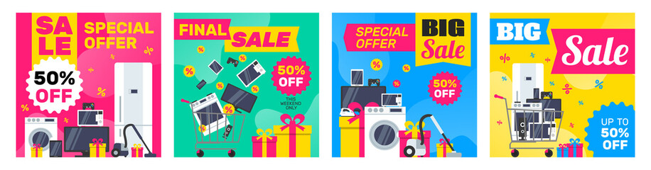 super sale electronics household appliances and gadgets square banners design set for social media