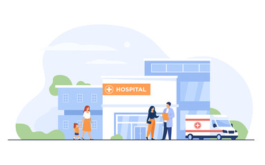 City hospital building. Patient talking to doctor at entrance, ambulance car parked at clinic. Can be used for emergency, medical care, health center concept