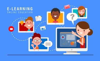 E-learning online education concept illustration. Online teacher on computer monitor. Kids studying at home via internet.