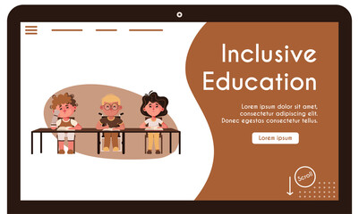 Vector banner illustration of disabled children inclusive education