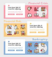 Vector color linear icon banner set of financial crisis, rick, bankruptcy