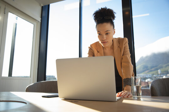 Mixed raced business woman using her laptop