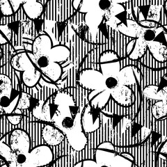 floral seamless pattern background, with flowers, stripes, paint strokes and splashes, black and white