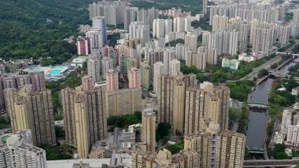 Wall Mural - Tai Po, Hong Kong 19 May 2020: Top view of Hong Kong city