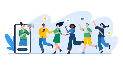 Referral system, refer a friend, a loyalty program. Group of people or customers are holding phones and join invitations. Trendy vector illustration for banners, landing page template, mobile app.