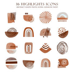 Highlight Icons. Instagram Story Icons. Abstract simple shapes covers. Boho social media. Modern minimalist graphic design. Terracotta color.