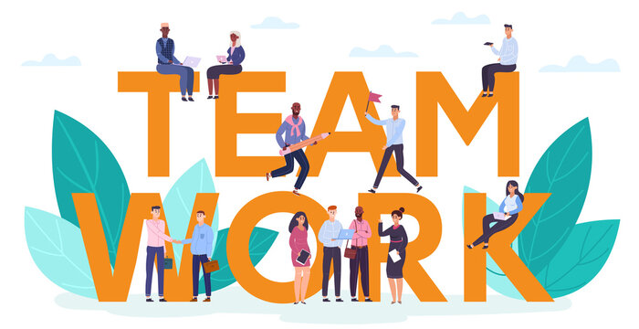 Teamwork motivation concept. Creative business successful team working together, teamwork cooperation lettering concept vector illustration. Teamwork motivation, success team communication