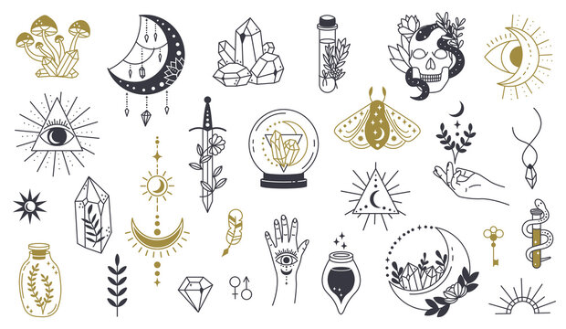 Magic doodle symbol. Witch hand drawn magic element, doodle witchcraft crystal, skull, knife, mystery tattoo sketch vector illustration icons set. Magic and witchcraft, witch esoteric alchemy
