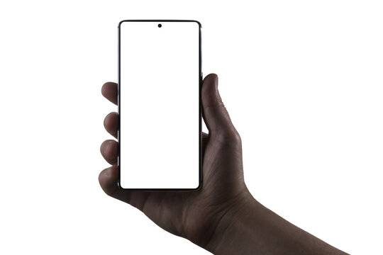 Hand holding phone. Silhouette of male hand holding bezel-less smartphone isolated on white background. Screen is cut with clipping path.