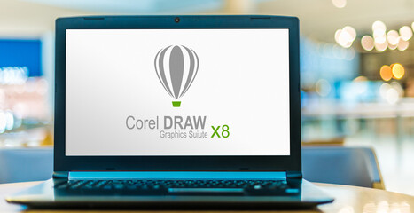 Laptop computer displaying logo of CorelDRAW