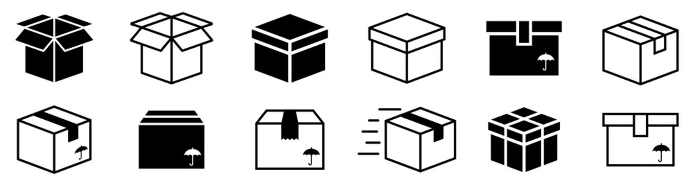 Box simple icon collection. Box in flat style. Carton box icons. Delivery icon. Vector illustration