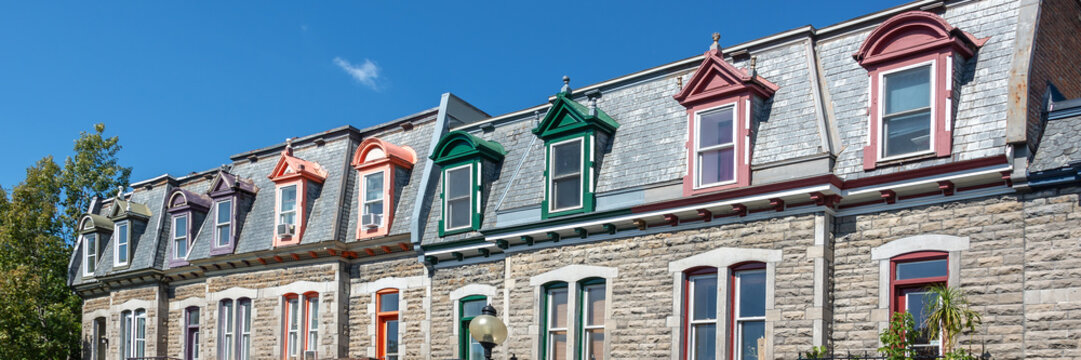 Panorama of colorful Victorian houses in Le plateau Mont Royal borough in Montreal, Quebec