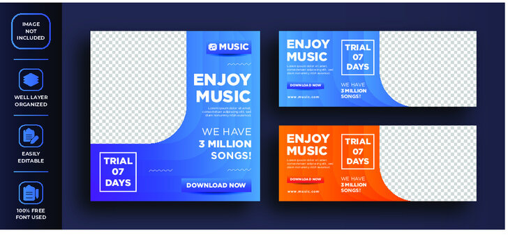 creative abstract social media post design about enjoy music