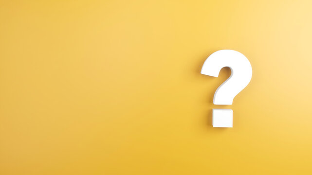 White question mark sign on yellow Background, 3d render, minimal and copy space.