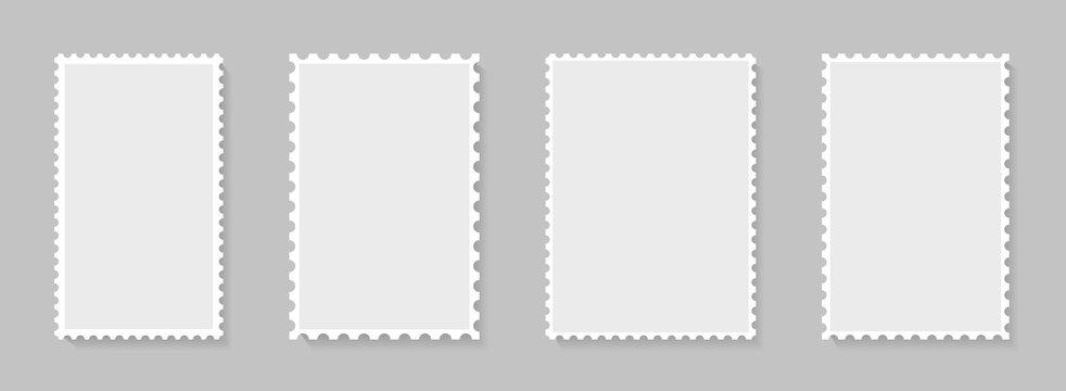Postage stamp perforated borders. Blank postal frame template for design album, mail, postcard. Vintage postage stamps for envelopes, letter. Isolated paper square boarder. vector.