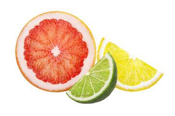 Wall Mural - Citrus fruits. Grapefruit, lime and lemon isolated on white background