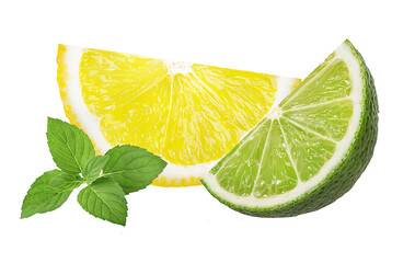 Wall Mural - Citrus fruits. Lime and lemon isolated on white background