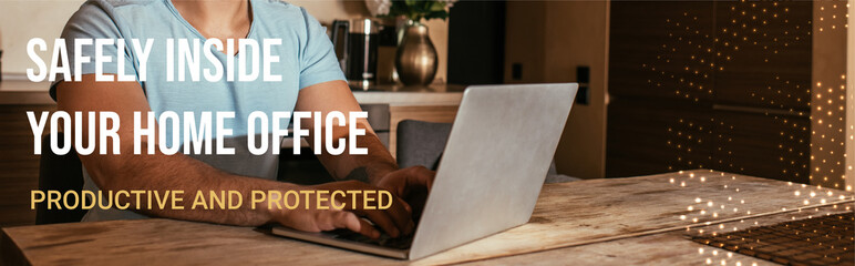 website header of mixed race freelancer using laptop near safely inside your home office,...
