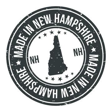 Made in New Hampshire State USA Quality Original Stamp Design Vector Art Tourism Souvenir Round