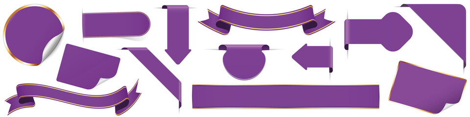 set of different purple banners, ribbons, stickers and other vector design elements