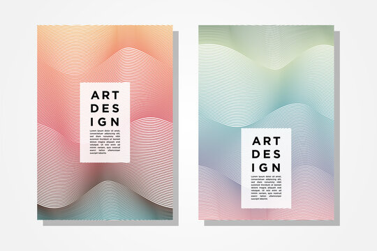 vertical layout of cover design template with pastel colorful line pattern element.  The costum text on center an bottom as for example .