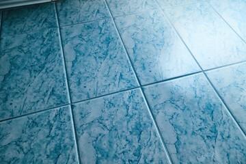 Shiny blue tiled bathroom floor reflecting light
