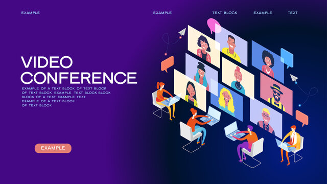 Chat with friends online. Collective virtual meeting and group video conferencing. Remote work concept