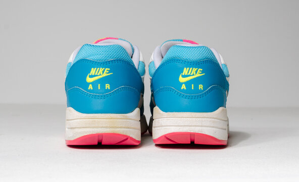 london, englabnd, 05/08/2018 Rare Nike Air max 1 gs clearwater White, pink, blue and neon Nike air max retro classic sneaker trainers. Nike sport and street wear fashionable athletic apparel.