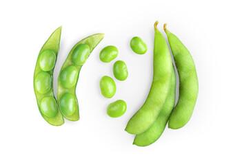 Fototapeta green soy beans isolated on white background obraz