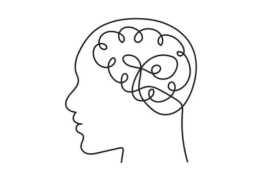 Continuous line art or One Line Drawing of a human brain, mechanical and robotic technology with advanced. Vector illustration EPS 10.