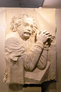 Albert Einstein statue details on display inside of Museum of Cosmonautics at Moscow in Russia.