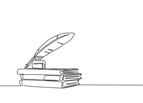 One continuous line drawing of stack of books, ink and quill pen on the office desk. Vintage writing equipment concept single line draw design vector illustration