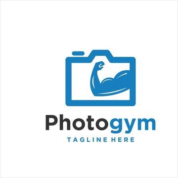 muscle camera logo vector design modern template