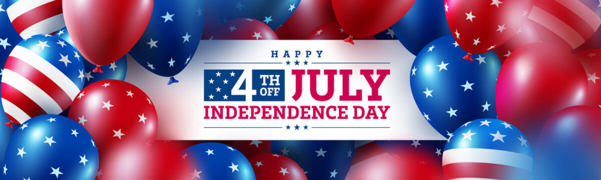 Happy 4th of July poster.USA independence day celebration with many american balloons flag and Bokeh lights.USA 4th of July promotion advertising banner template for Brochures,Poster or Banner